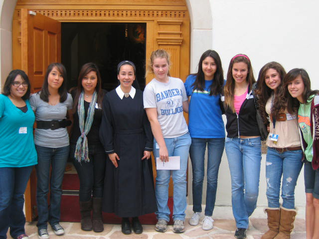 Girls youth with Sister Mara